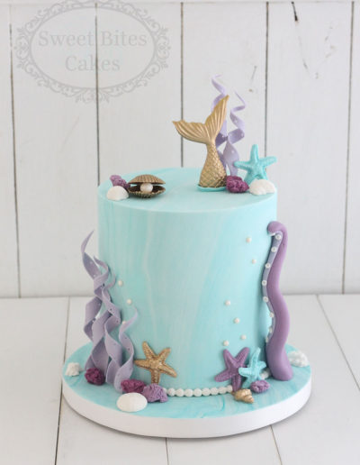 Tall 1 tier mermaid underwater cake