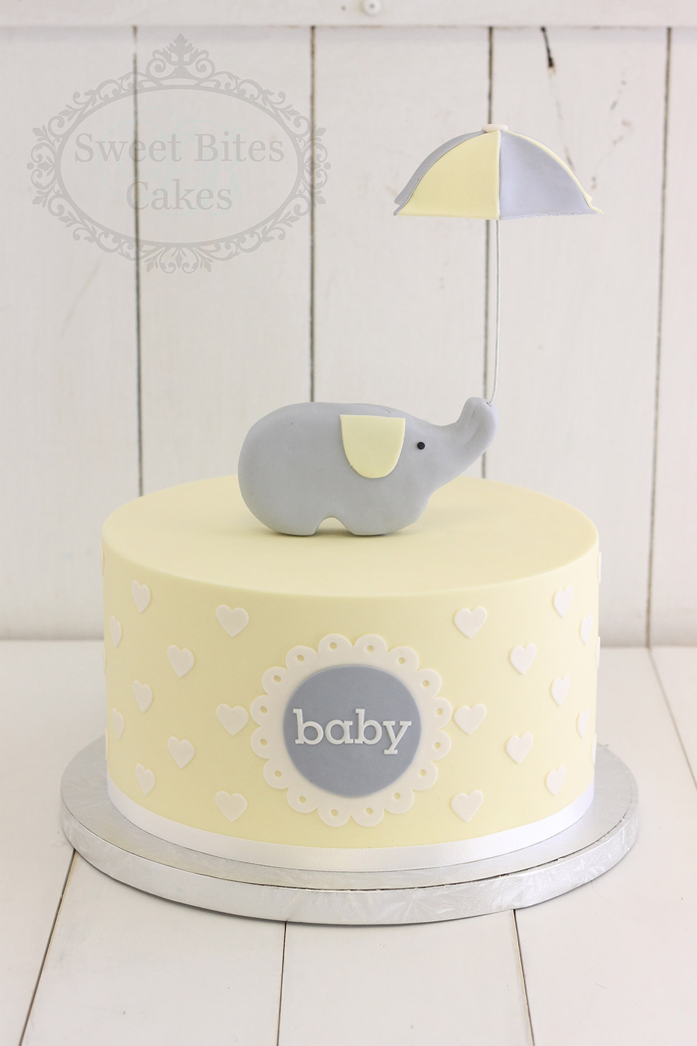 Simple Yellow And Grey Baby Shower Cake Sweet Bites Cakes