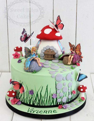 1 tier Fairy garden cake