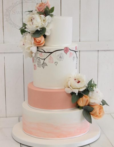 4 tier wedding cake with bird cage painting