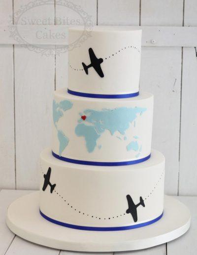 Aeroplane and world map wedding cake