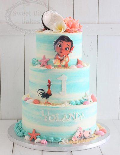 3 tier watercolour Moana cake