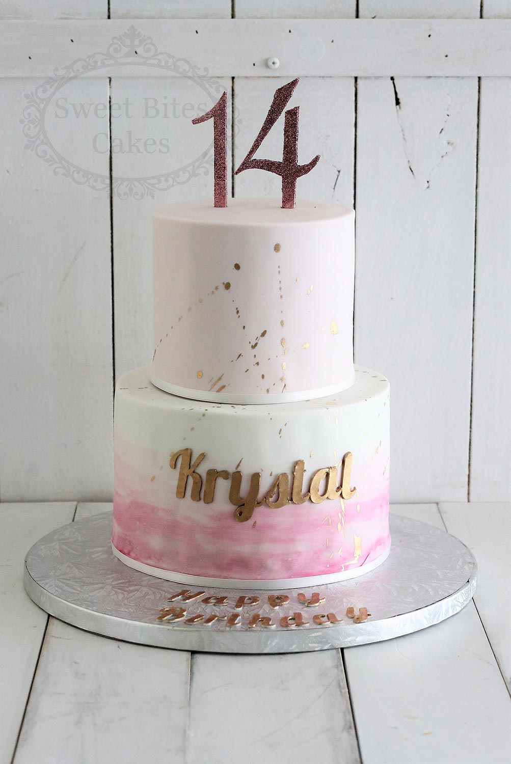 Phenomenal 2 Tier 14Th Birthday Cake With Gold Splatter Sweet Bites Cakes Personalised Birthday Cards Arneslily Jamesorg