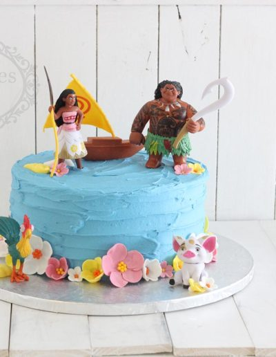 1 tier buttercream Moana themed cake