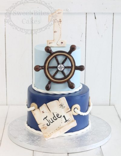 Nautical 1st birthday cake
