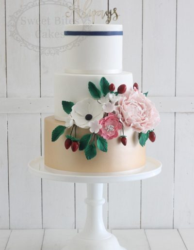 3 tier wedding cake with floral feature