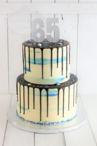 Blue watercolour cake with chocolate drip