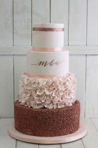 Pink and rose gold wedding cake with sequins and ruffles