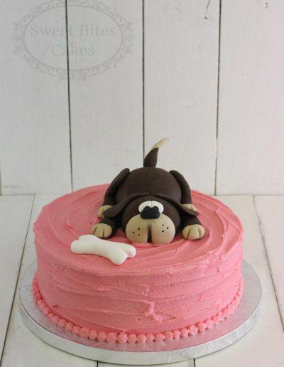 Dog topper buttercream cake