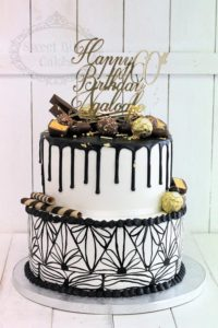 Gold and black drip cake with chocolate