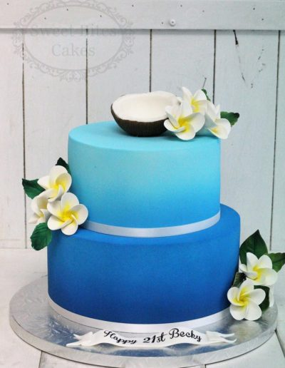 Blue airbrushed cake with coconut