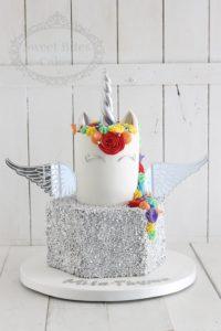 Silver sequin and rainbow unicorn cake