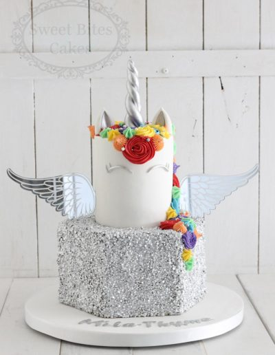 Silver sequin and rainbow unicorn cake