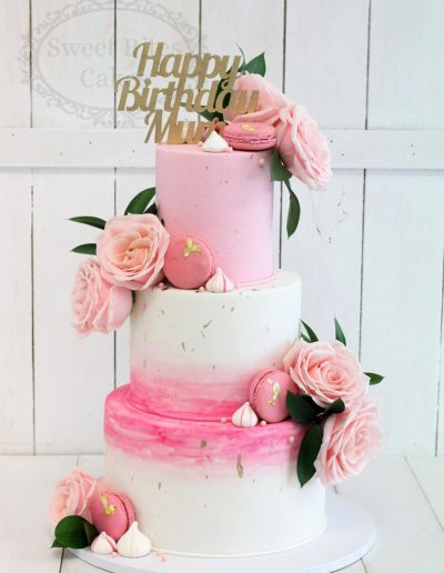 3 tier pink watercolour birthday cake