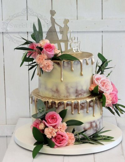 Semi Naked wedding cake with gold drip