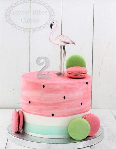 Watermelon flamingo cake