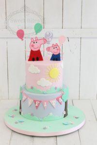 2 tier peppa pig cake