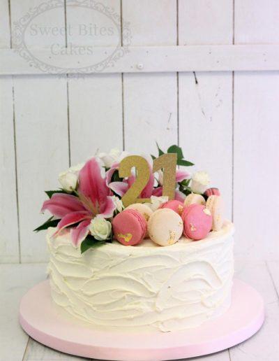Buttercream and macaron cake