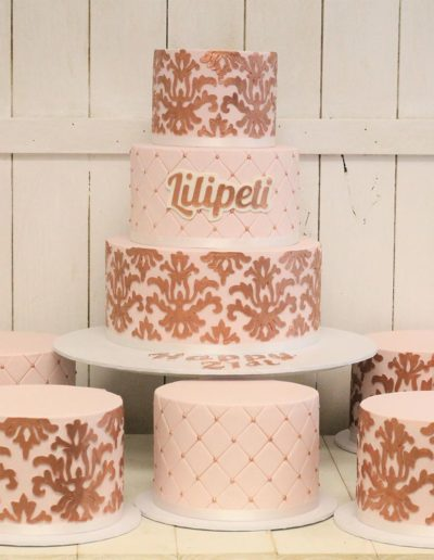 Rose gold quilted wedding cakes