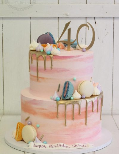 Watercolour buttercream and candy cake