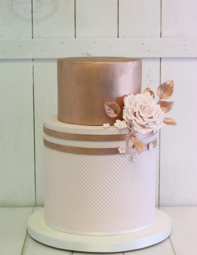 Rose gold and pink quilted wedding cake