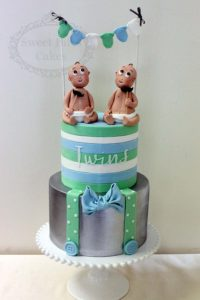 twins baby bow tie cake