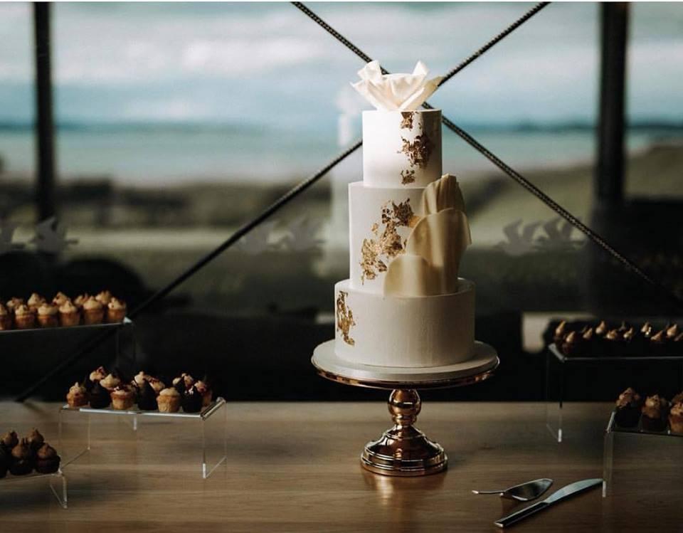 Gold Leaf Minimalist Wedding Cake