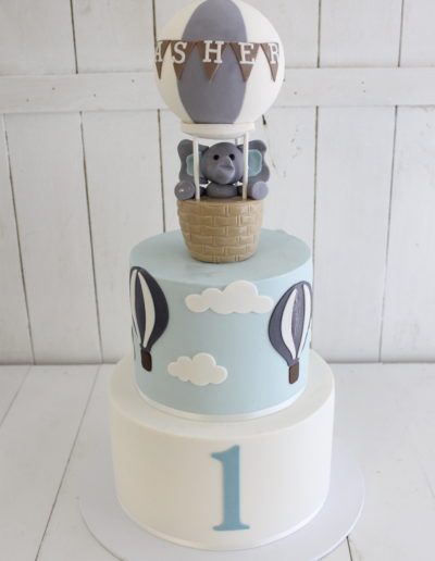 2 Tier Elephant Hot Air Balloon Birthday Cake