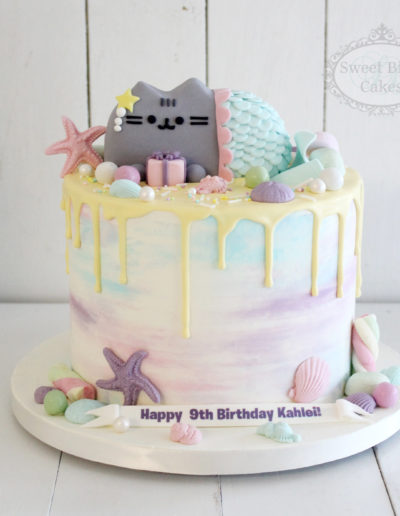 Pastel Mermaid Pusheen Cake