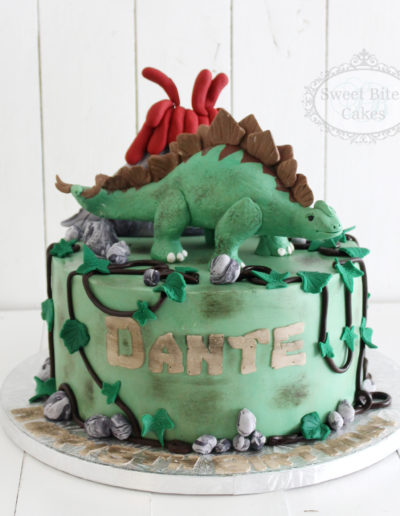 3D Dinosaur Volcano Birthday Cake