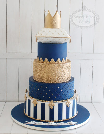 5 Tier Regal blue & Gold Birthday Cake