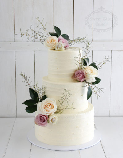 3 Tier Rustic Wedding Cake with Florals