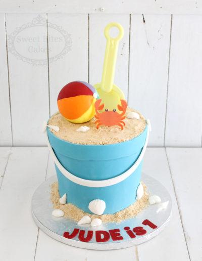 Beach Bucket Sandcastle Cake