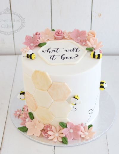 Floral Bumblebee Baby Shower Cake
