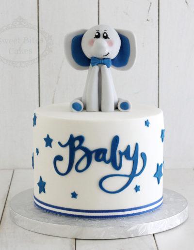 Elephant Topper Baby Shower Cake