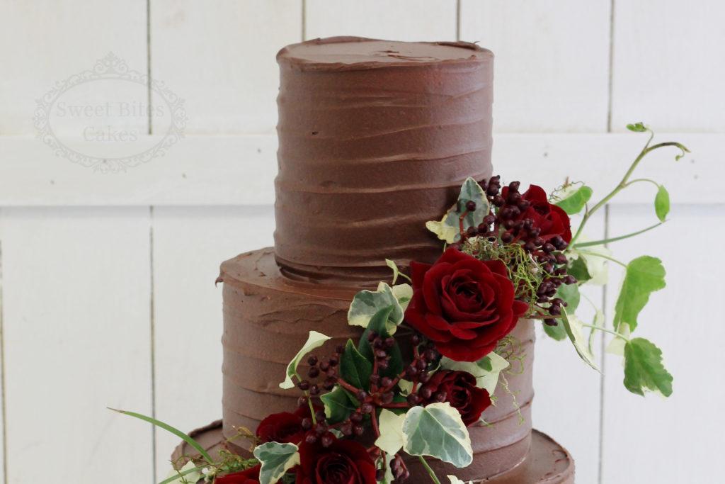 Dark Chocolate Ganache Wedding Cake