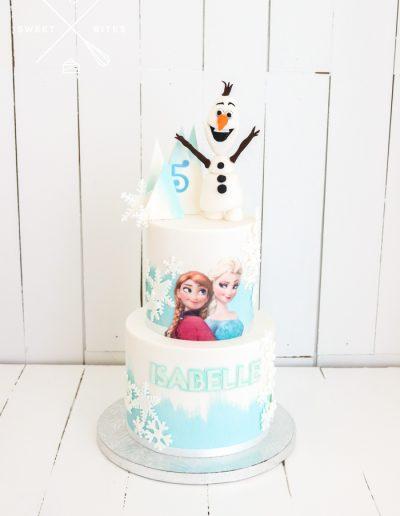 frozen ana elsa olaf 2 tier 5th birthday cake