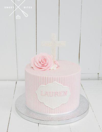 pink girl christening cake baptism