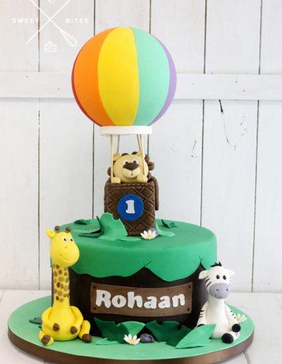 hot air balloon giraffe zebra lion 1st birthday cake