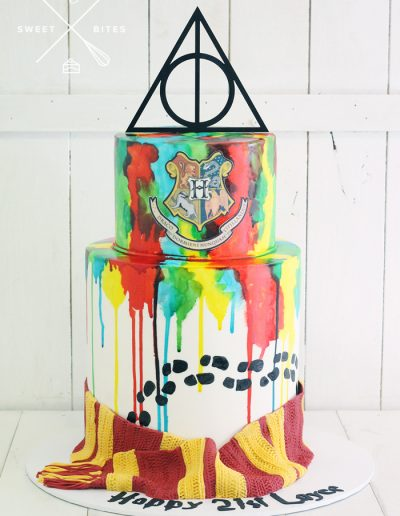 harry potter colourful deathly hallows 21st birthday cake