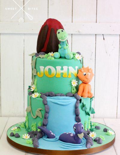 cute dinosaur cake volcano 2 tier