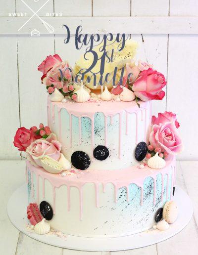 blue pink drip flowers 21st birthday cake