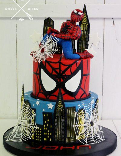 spiderman cake DC 2 tier