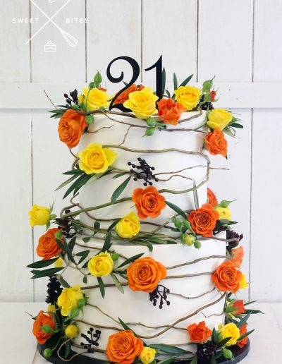 vine flowers 21st birthday cake
