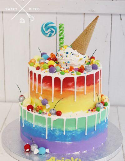 ice cream rainbow drip candy cake