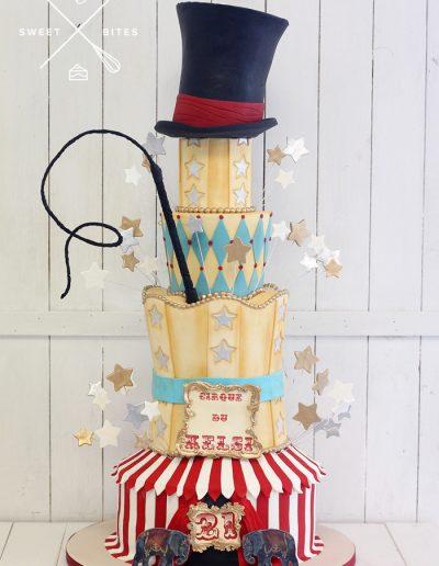 circus theme 4 tier cake top hat cirque tent