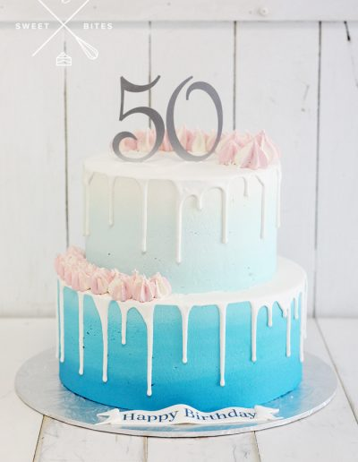 blue ombre 2 tier 50th birthday cake