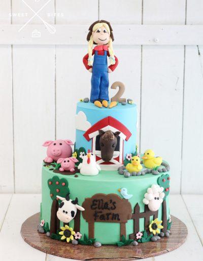 farm barn animals farmer cake 2nd birthday