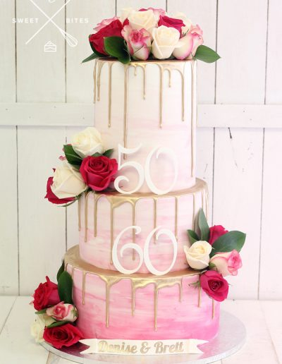 pink white ombre gold drip flowers 50th 60th cake