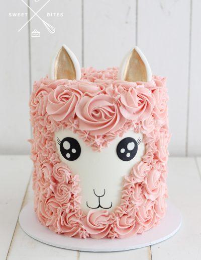 llama alpaca cute pink cake